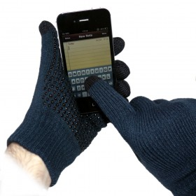 Navy Grip Touchscreen Gloves