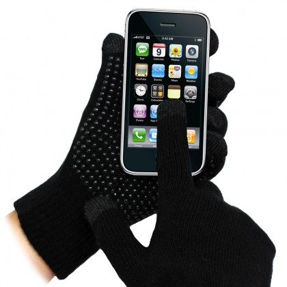 Black Grip Touchscreen Gloves
