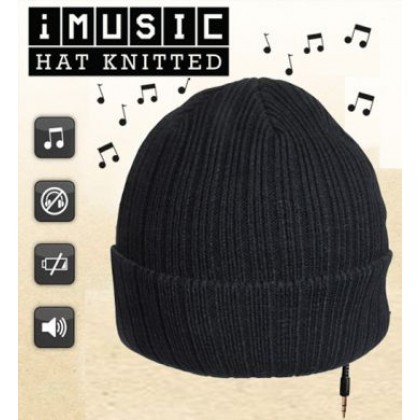iMusic Black Knitted Headphone Hat