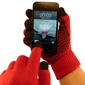 Red Grip Touchscreen Gloves